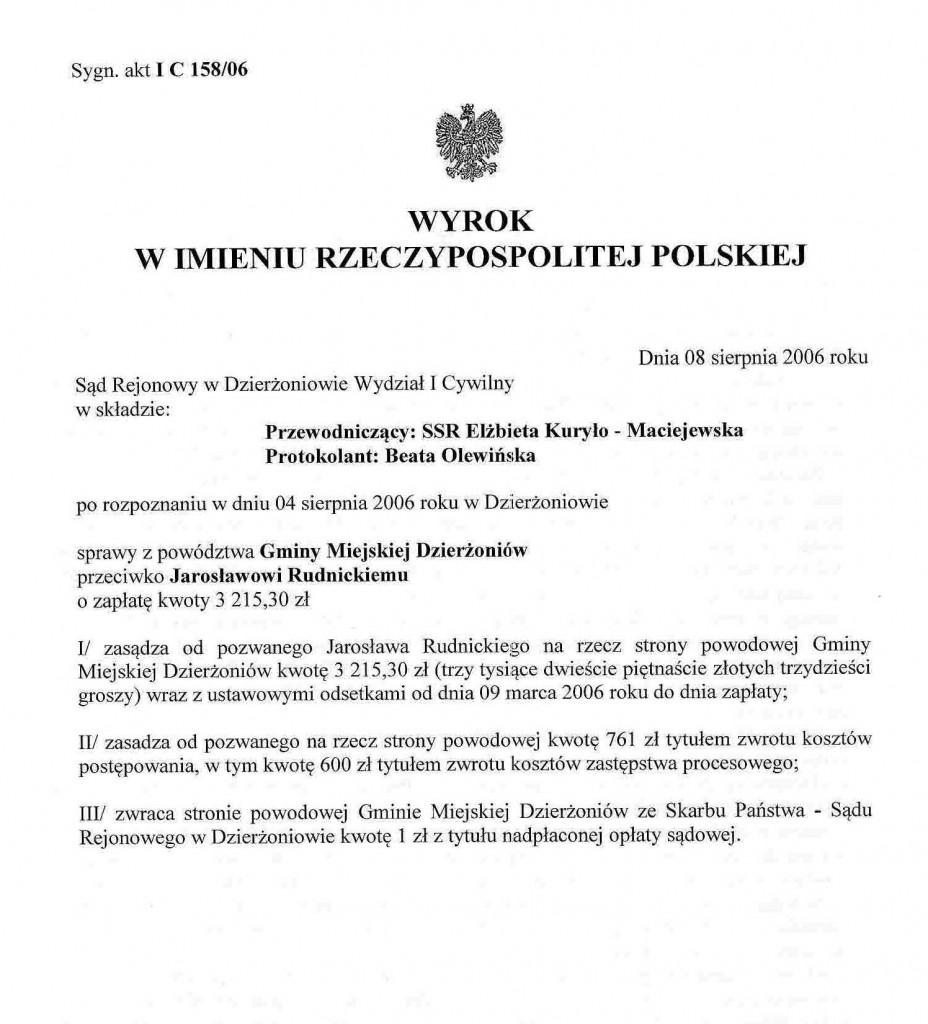 Wyrok rany Jarosław Rudnicki